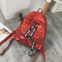 女包字母亮面双肩包女韩版校园百搭学生书包背包旅行大包
