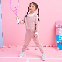 女童秋装套装 新款春秋季韩版时尚潮儿童运动服两件套针织休闲 120码 【113-120cm(建议120)】