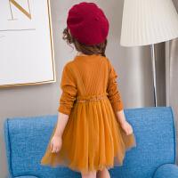 女童加绒连衣裙子秋季新款纯色韩版加厚款儿童装公主裙长袖保暖