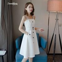 2018夏装新款女装欧洲站小清新初恋裙白色吊带连衣裙ins超火裙子 白色
