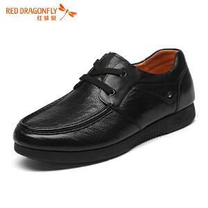 红蜻蜓男鞋冬季新款男士厚底皮鞋真皮头层牛皮系带爸爸鞋舒适单鞋