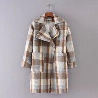 女装秋冬新款西装领复古撞色格子加厚毛呢大衣女外套潮