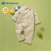 迷你巴拉巴拉男童婴儿连体衣宝宝外出衣服2021春装宽松工装连体衣