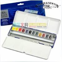 温莎牛顿Cotman 歌文固体水彩 12色/24色水彩颜料蓝铁盒套装