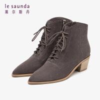 莱尔斯丹 秋冬时尚新款简约尖头系带粗跟马丁靴短靴女靴LS AT51401