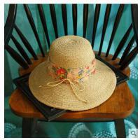 女款大沿防晒遮阳帽 子女夏天沙 滩简约蝴蝶结 海边太阳帽可折叠草帽