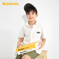 巴拉巴拉童装男童短袖衬衫韩版洋气中大童纯棉夏装儿童