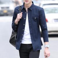 衬衫男士长袖寸衫休闲修身韩版潮流学生帅气衬衣服男装春夏季