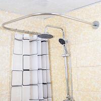 浴帘杆免打孔l形伸缩杆弧形防水帘卫生间浴室l型浴帘套装u型 +浴帘套装