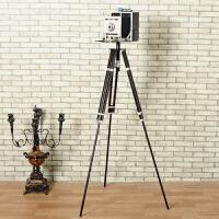 欧式复古铁艺做旧仿真落地三脚架照相机模型摆件摄影道具家居装饰