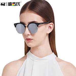 威古氏偏光太阳镜女复古偏光太阳镜圆脸长脸彩膜眼镜9067