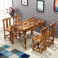 饭店餐桌实木碳化快餐桌椅面馆烧烤火锅小吃饭店桌椅户外餐厅桌椅仿古