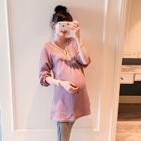 孕妇装春秋装上衣长袖春装时尚款2018新款怀孕期连衣裙中长款宽松