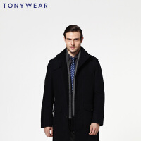 TONY WEAR/汤尼威尔男士商务休闲棉大衣长袖单排扣大衣