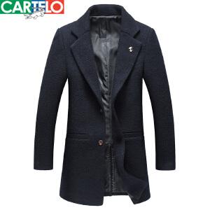 CARTELO/卡帝乐鳄鱼中长款毛呢大衣男冬装新款商务休闲保暖外套男
