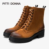 PITTI DONNA欧美圆头低跟绑带侧拉链短筒女靴马丁靴8T43201