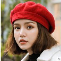 贝雷帽女网红同款时尚韩版日系百搭学生街头羊毛呢蓓蕾帽学院南瓜帽画家帽户外运动新品