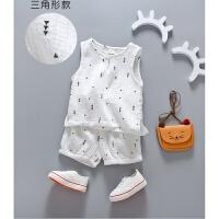 韩版宝宝夏装棉麻背心套装婴儿童夏季男童女童两件套纯棉亚麻衣服