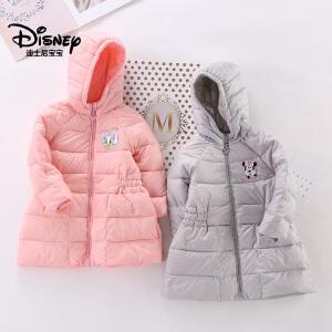 迪士尼宝宝森林小世界女童轻薄中长款连帽羽绒服2018冬款上新