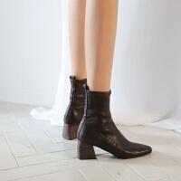 马丁靴女短靴新款粗跟韩版秋冬加绒保暖中跟袜靴瘦瘦靴子女弹力靴