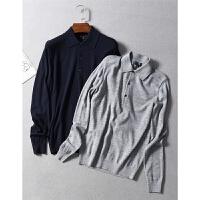 日本品质全羊毛休闲商务翻领长袖套头POLO针织衫秋冬男装0.25