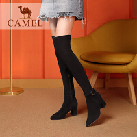 camel骆驼女鞋 2018冬季新品时尚优雅弹力靴筒靴子摩登高跟长靴