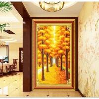 纯手工十字绣成品黄金满地竖版风景挂画客厅玄关过道楼梯已绣好的