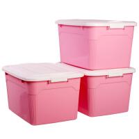百草园(bicoy)塑料整理箱收纳箱 多功能储物箱 收纳盒箱盖 大号60L 3个装 樱花粉