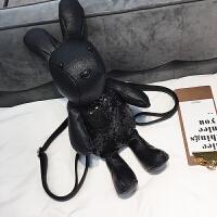 新款亮片小背包2018新款女包潮韩版时尚卡通兔子双肩包潮多功能单肩包