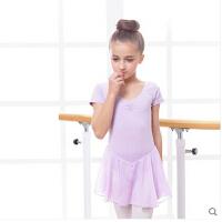 芭蕾舞形体儿童舞蹈练功服棉 女童舞蹈服装夏季连体裙短袖