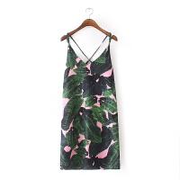 女装夏热带风情印花连衣裙 欧美性感细肩带吊带短裙