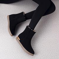 冬季时尚加厚雪地靴女短靴保暖内增高平底防滑学生棉鞋加绒中筒靴