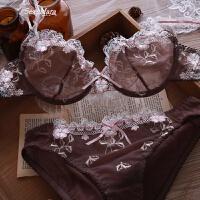 性感诱惑文胸套装透明蕾丝刺绣欧美内衣胸罩乳罩细肩带两排扣