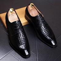 DAZED CONFUSED 潮牌男士鳄鱼纹休闲鞋方头皮鞋英伦内增高青年夜店发型师潮男鞋子