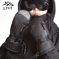 冬季户外运动保暖单双板包指手闷子滑雪手套 男女
