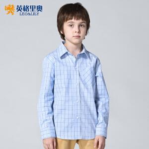 英格里奥春秋装新品男童纯棉长袖格子衬衫青少年儿童学院风衬衣LLB273