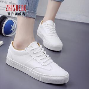 2018春季帆布鞋女系带休闲韩版白色板鞋平底小白鞋系带运动鞋潮单鞋女