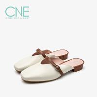 CNE2019春夏款拖鞋女外穿一字带方头穆勒鞋一脚蹬女拖鞋9T19501