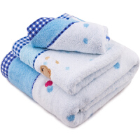 [当当自营]三利 纯棉无捻纱绣小熊方巾/毛巾/浴巾礼盒装三件套 蓝色