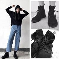 原宿风磨砂皮马丁靴女英伦风系带短靴女平底学生圆头靴秋冬季新靴