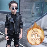 童装男童皮衣装外套2017新款宝宝上衣儿童夹克衫男孩加绒皮夹克