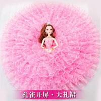 超大号婚纱嘿喽芭比洋娃娃仿真精致单个女孩公主玩具套装2020新款