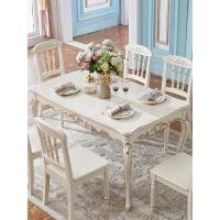 家居轻奢欧式椅 实木雕花珍珠白小户型客厅长方形4人6人饭桌