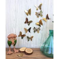 蝴蝶墙纸自粘3d立体墙贴画ins仙女房间布置卧室客厅背景墙壁装饰 钛金色 20只装 大