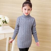 女童毛衣套头中长款加厚高领秋韩版新款中大童针织衫儿童打底衫