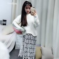 韩国2018春季新款圆领女装针织拼接蕾丝钩花毛衣假两件套潮连衣裙