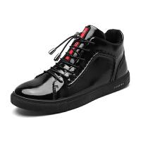 男士休闲鞋秋款新款2017韩版黑色板鞋英伦风潮流小皮鞋青年男鞋子