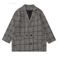 ulzzang韩国学院风春季新款复古宽松百搭双排扣格子西装毛呢外套