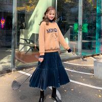 MG小象套装女秋冬2019新款两件套洋气减龄套头休闲卫衣时尚半身裙