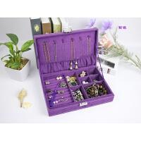 公主绒布盒木质首饰盒带锁饰品盒收纳盒欧式项链盒单层耳钉盒